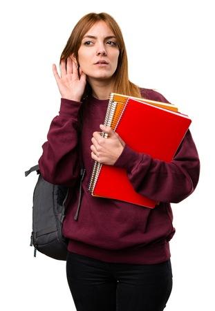 Student woman listening something