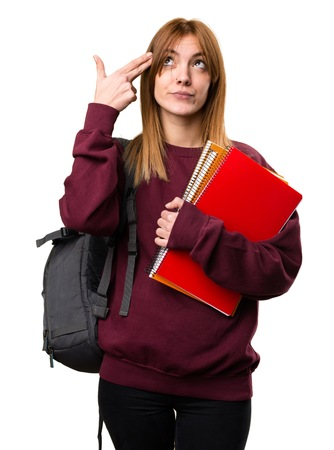 Student woman making suicide gesture Stock Photo