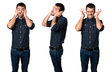 Set of Brunette man covering his ears