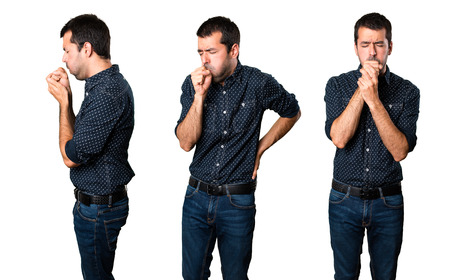Set of Brunette man coughing a lot Stockfoto