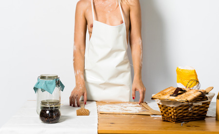 Sexy blonde chef woman