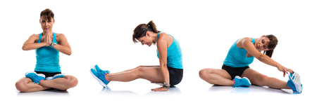 Pretty sport woman stretching Stock Photo