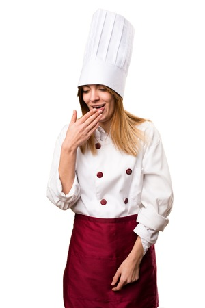 Beautiful chef woman coughing a lot Stock Photo