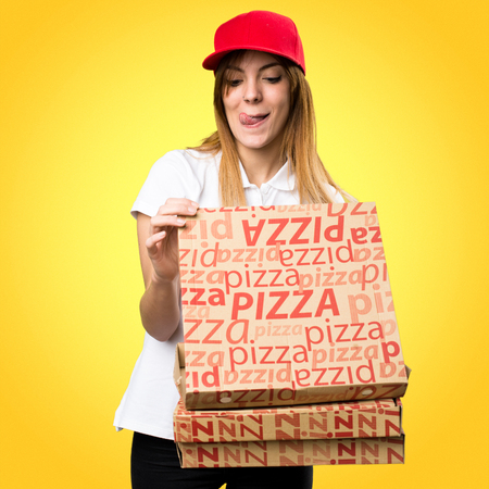 Pizza delivery woman on colorful background