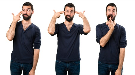 Set of Handsome man with beard making suicide gesture