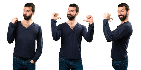 Set of Handsome man with beard proud of himself