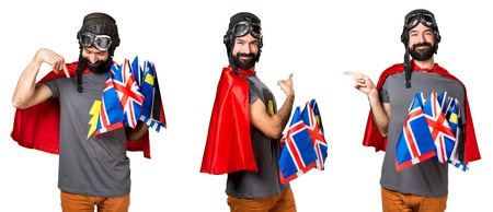 Superhero with a lot of flags pointing back, lateral and down