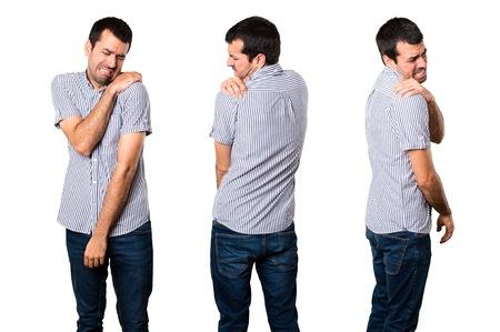 Set of Handsome man with shoulder pain