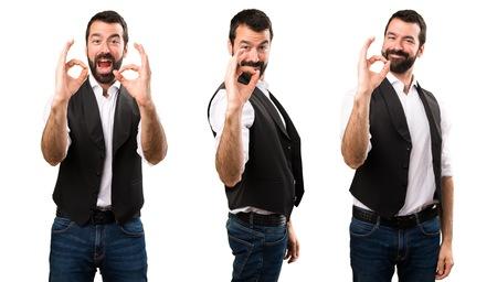 Set of Cool man making OK sign Stock Photo