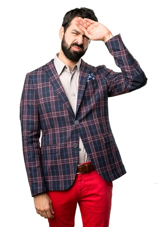 Well dressed man with fever on white background