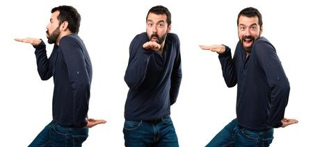 Set of Handsome man with beard dancing