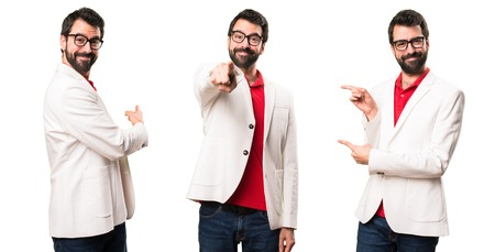Set of Brunette man with glasses pointing to the front, lateral and back