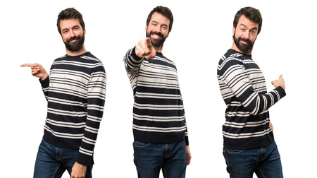 Set of Man with beard pointing to the front, lateral and back Stock Photo