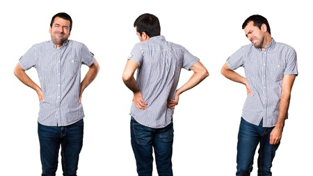 Set of Handsome man with back pain Stock Photo