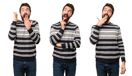 Set of Man with beard making surprise gesture