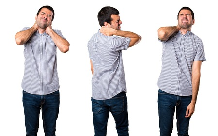 Set of Handsome man with neck pain Stock Photo