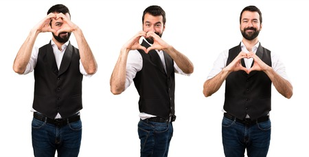 Set of Cool man making a heart with his hands Stock Photo