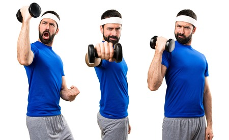 Set of Funny sportsman making weightlifting Stock Photo