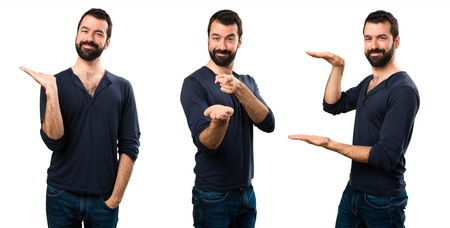 Set of Handsome man with beard holding something