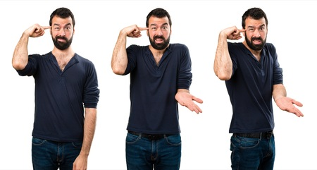 Set of Handsome man with beard making crazy gesture