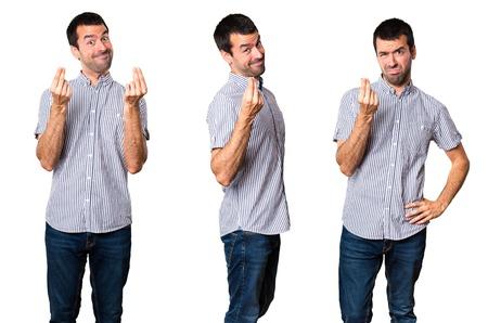 Set of Handsome man making money gesture