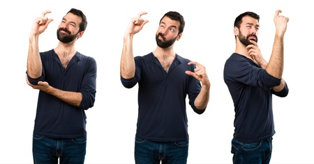 Set of Handsome man with beard making tiny sign