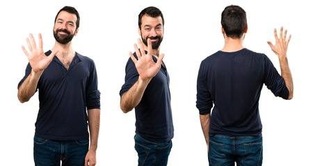 Set of Handsome man with beard counting five