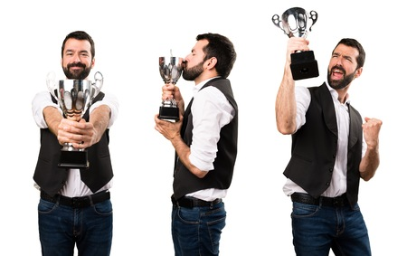 Set of Cool man holding a trophy Stock Photo
