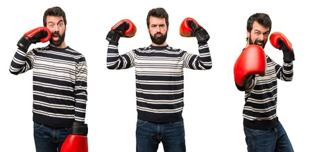 Set of Man with beard with boxing gloves Stock Photo
