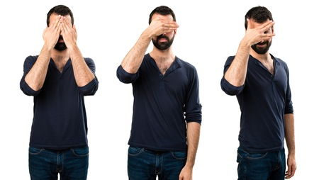 Set of Handsome man with beard covering his eyes Stock Photo