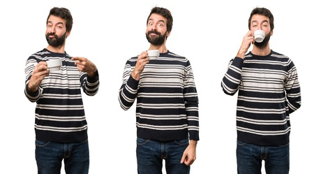 Set of Happy Man with beard holding a cup of coffee