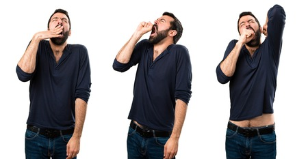 Set of Handsome man with beard yawning