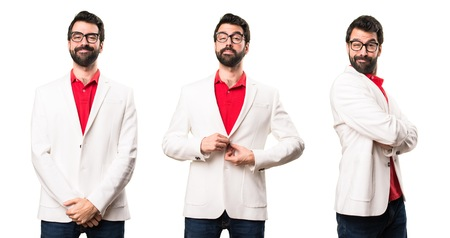 Set of Happy brunette man with glasses Stock Photo