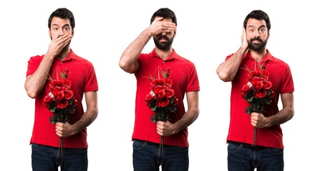 Set of Handsome man holding flowers covering his eyes, ears and mouth Stock Photo