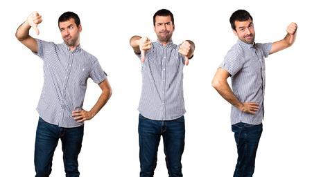 Set of Handsome man making bad signal