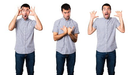 Set of Handsome man making surprise gesture
