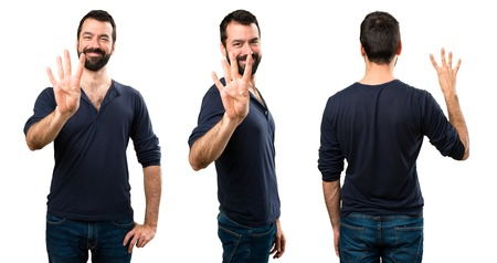 Set of Handsome man with beard counting four Stock Photo