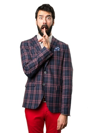 Well dressed man making suicide gesture on white background