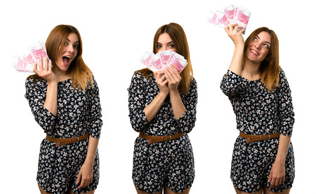 Set of Beautiful young girl taking a lot of money Stock Photo