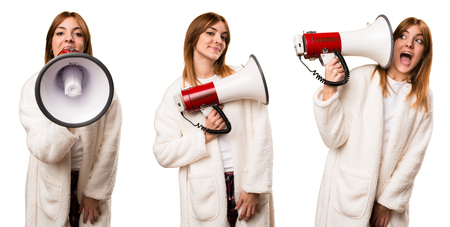 Set of Young woman in dressing gown holding a megaphone