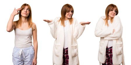 Set of Young woman in dressing gown making unimportant gesture