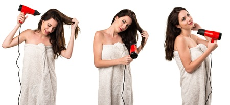 Set of Young woman in bath towel with hair dryer