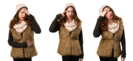 Set of Girl with winter clothes making crazy gesture Stock Photo