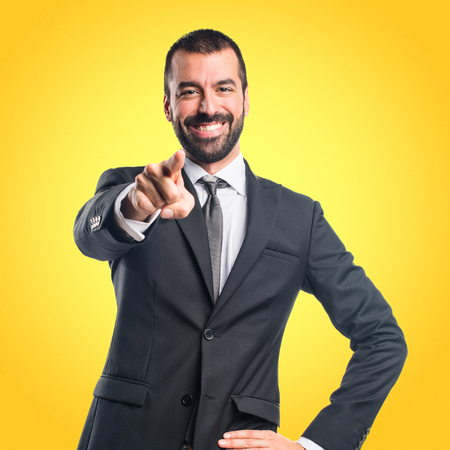 Businessman pointing to the front