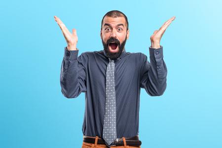 Man doing surprise gesture Stock Photo