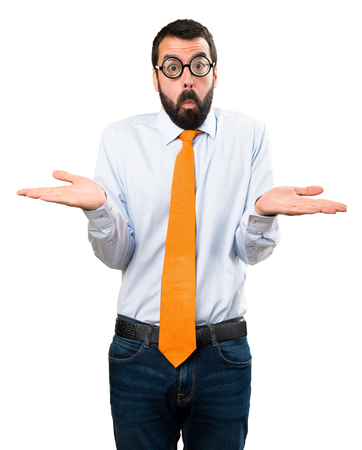 Funny man with glasses making unimportant gesture