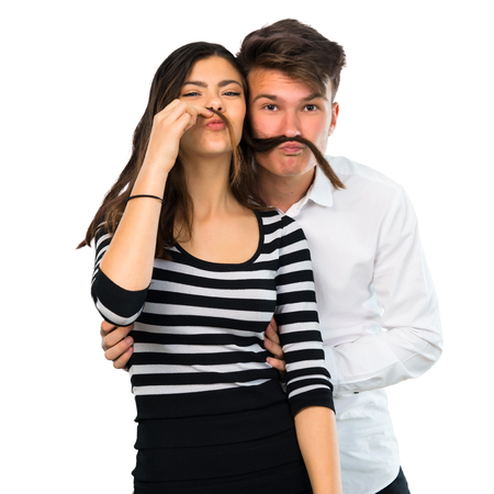 Young couple makes funny and crazy face emotion on isolated white background