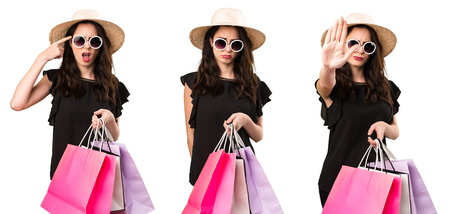 Set of Sad beautiful young girl  with shopping bag