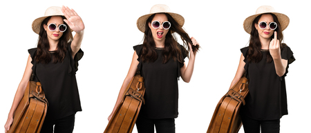 Set of Frustrated beautiful young girl with  a suitcase