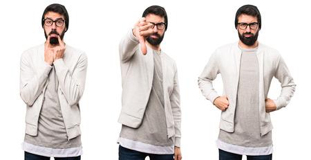 Set of Hipster man making bad signal